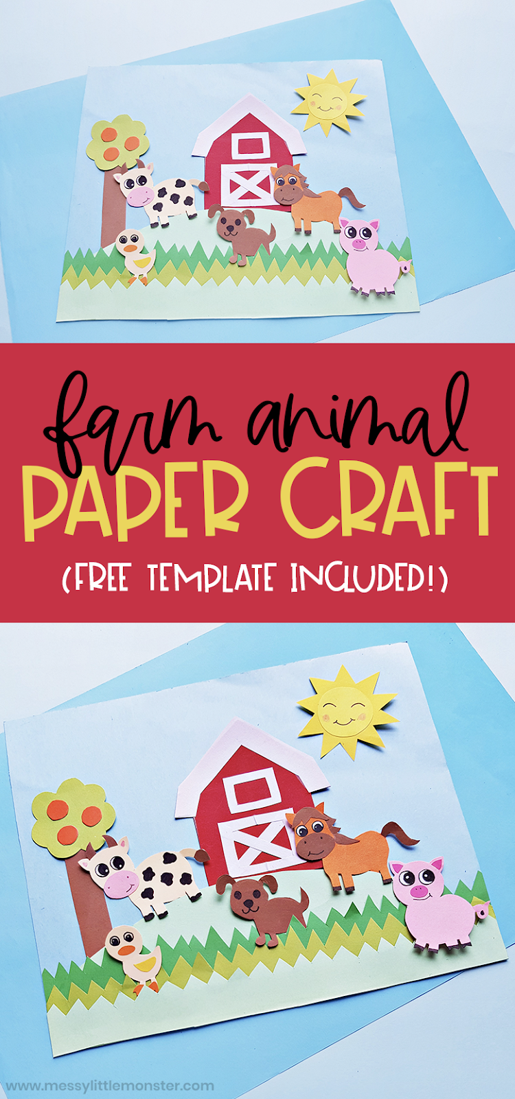 Farm animal craft for kids with printable farm animal template.