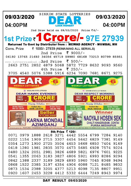 Sikkim State Lotteries 09-03-2020 Lottery Sambad Result 04:00 PM