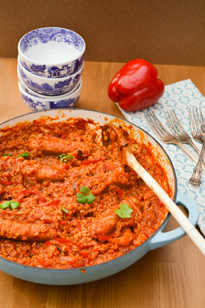 Vegan Sausage, Red Pepper and Brown Rice Casserole