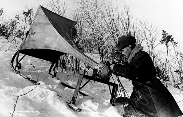 Soviet loudspeaker on Eastern Front 21 April 1942 worldwartwo.filminspector.com