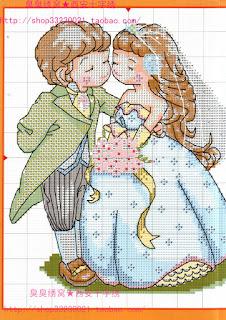 recién casados que van a besarse. esquemas punto de cruz
