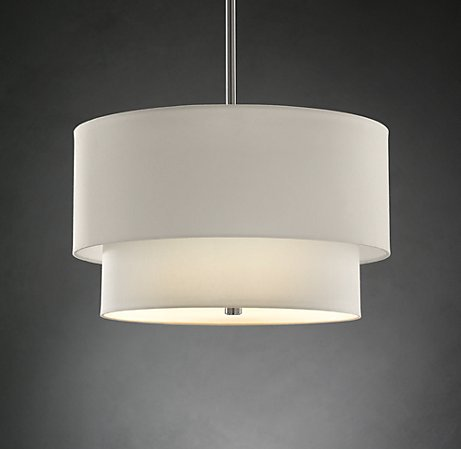 2-Tier Round linen shade light by Restoration Hardware