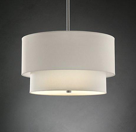 2-Tier Round linen shade light by Restoration Hardware