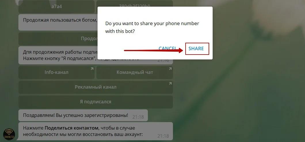 Регистрация в Status 7.0 4