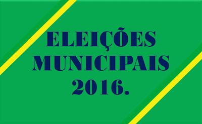 A imagem nas cores do Brasil está escrito a frase:eleições municipais de 2016.