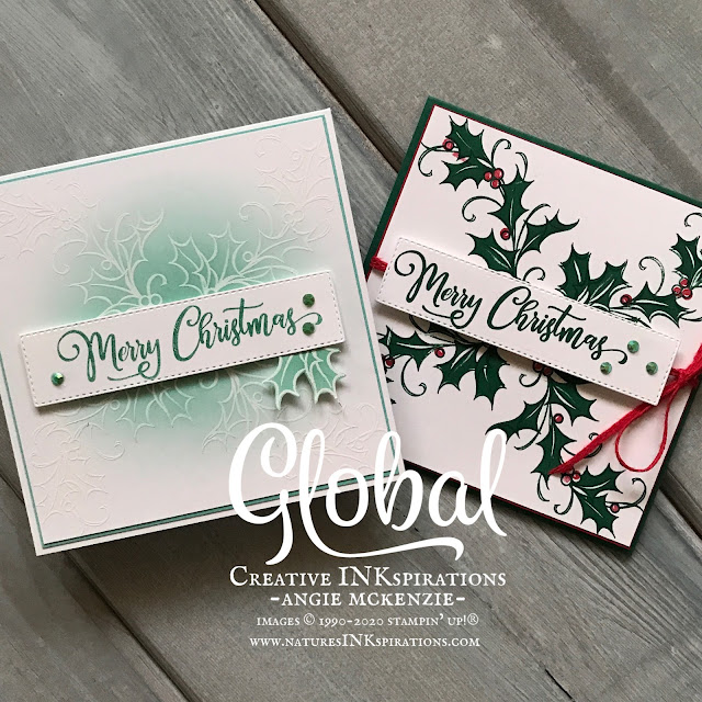 By Angie McKenzie for Global Creative Inkspirations; Click READ or VISIT to go to my blog for details! Featuring the Joyful Holly, Tag Buffet and Toile Christmas Stamp Sets and the Ornate Layers Dies; #stampinup #handmadecards #naturesinkspirations #holly #christmascards #joyfulhollystampset #tagbuffetstampset #toilechristmasstampset #ornatelayersdies #cardtechniques #embossresist #fussycutting #inkblending #globalcreativeinkspirations #gcibloghop #makingotherssmileonecreationatatime