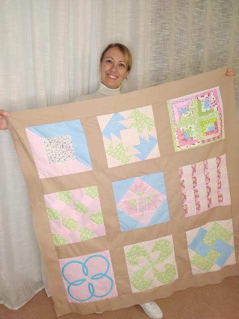 Montaje de colcha o quilt de patchwork