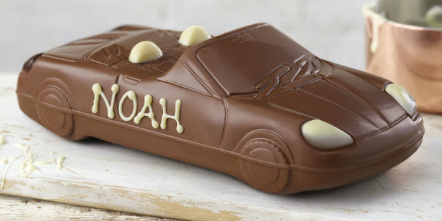 Chocolate car with personalisation written in icing
