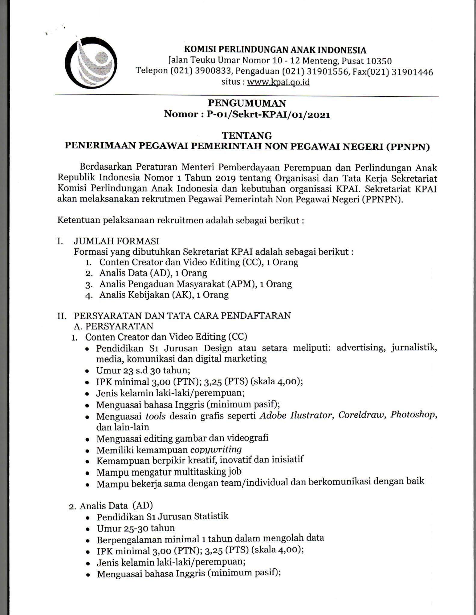 Lowongan Kerja PPNPN Komisi Perlindungan Anak Indonesia (KPAI) Tahun 2021