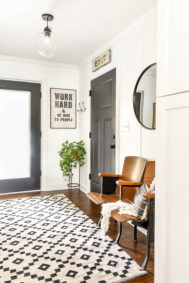 budget friendly vintage modern mudroom decor