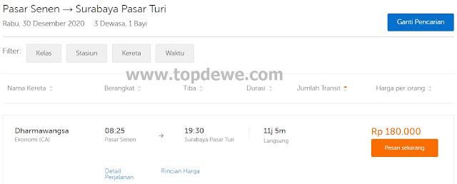 Harga Tiket kereta Api Jakarta -Surabaya