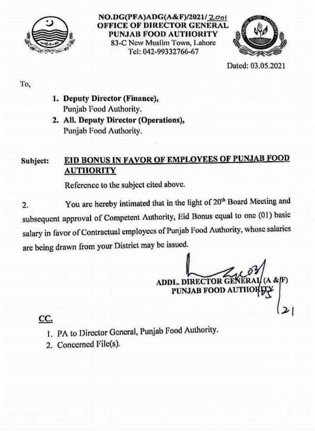 EID BONUS TO CONTRACTUAL EMPLOYEES OF PUNJAB FOOD AUTHORITY