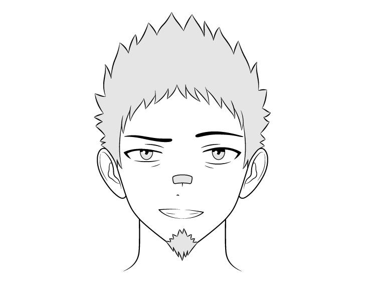Anime pria preman menyeringai menggambar wajah