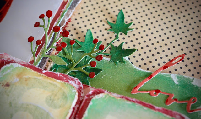Christmas holiday scrapbooking layout using Sizzix Big Shot dies, lots of layers, corrugated cardboard, burlap, and distressing