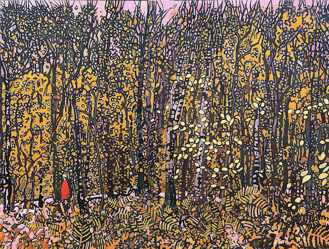 Jacques Hamel art, a woman in red walking in an Autumn forest
