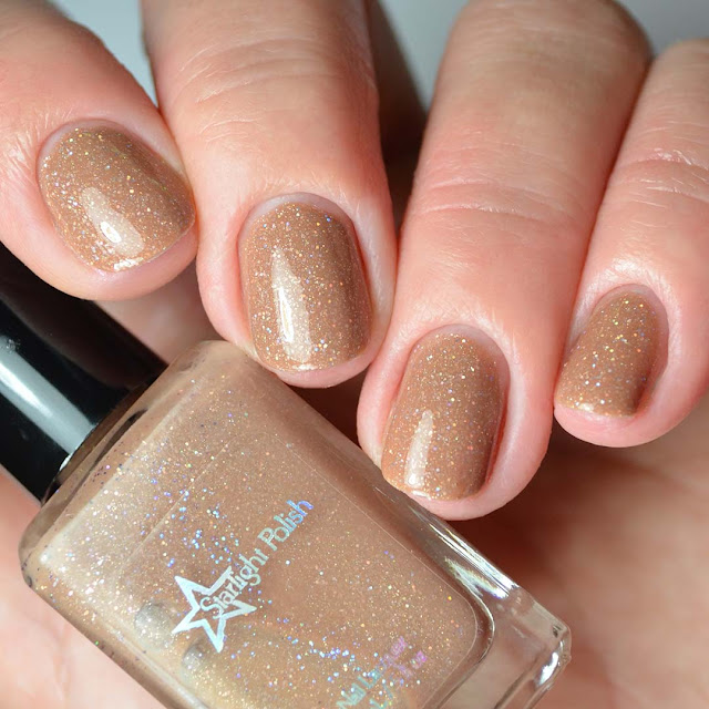 light brown holo nail polish four finger swatch