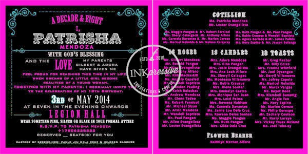 Debut Invitation + Hot Pink and Black + Half Petal ...