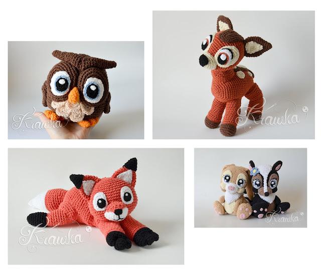 Krawka: Forest animals pattern collection: owl, deer, fox, miss bunny, skunk crochet patterns by Krawka