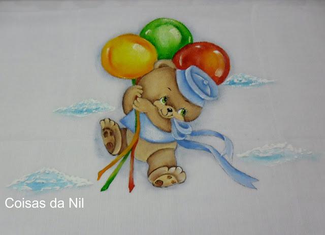 pintura em tecido ursinho com baloes