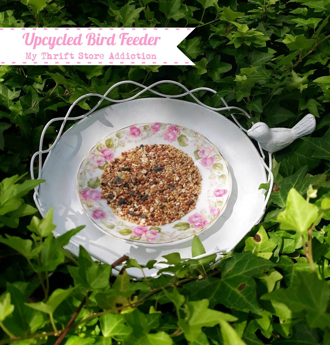 Upcycled yard sale bird feeder