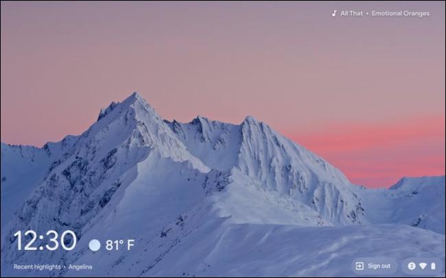 شاشة توقف نظام التشغيل Chrome OS على جهاز Chromebook
