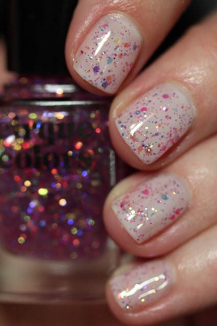 Cirque Colors Crystal Tokyo iridescent pink glitter topper review swatch