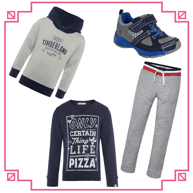 pediped trainers, Timberland sweatshirt, Billybandit t-shirt, Tommy Hilfiger sweatpants