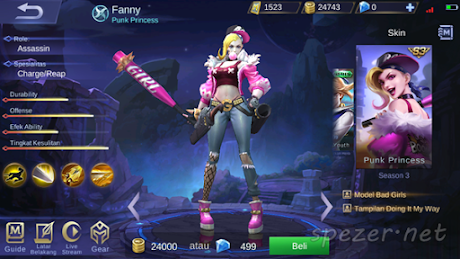 Fanny - Punk Princess Skin Mobile Legends Season 3