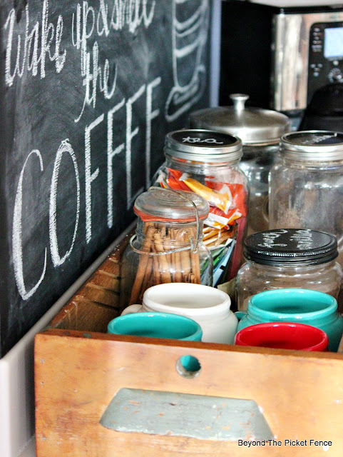 coffee station, repurposed, old drawer, chalkboard sign, coffee sign, mugs, farmhouse, http://bec4-beyondthepicketfence.blogspot.com/2015/10/coffee-station.html