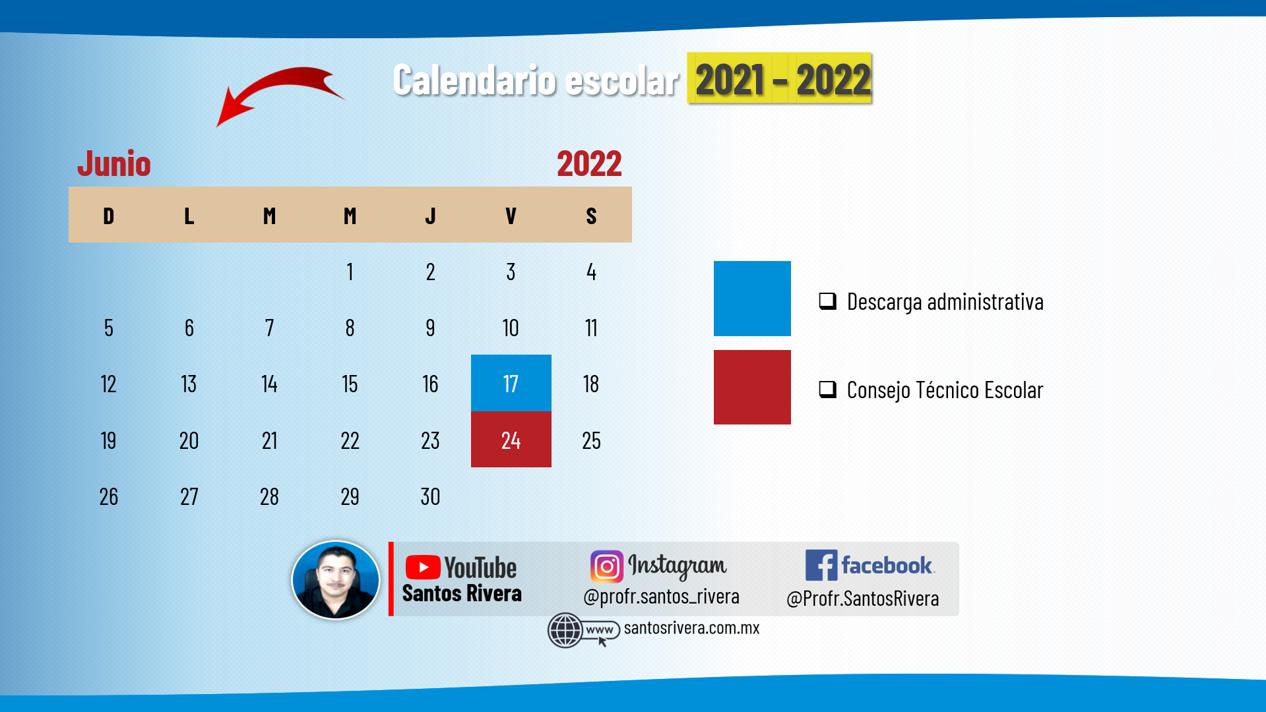 calendario escolar del mes de junio 2021 - 2022