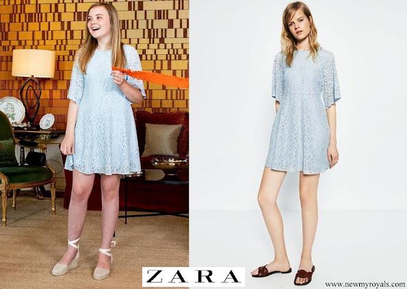 Princess Ariane wore  Zara light-blue lace babydoll mini dress