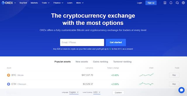 Screenshot Website OKEx Trade