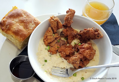 Phoebe's Diner fried chicken, grits, and biscuit