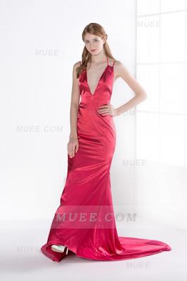 Backless Spaghetti Straps Long Rose Pink Evening Dress