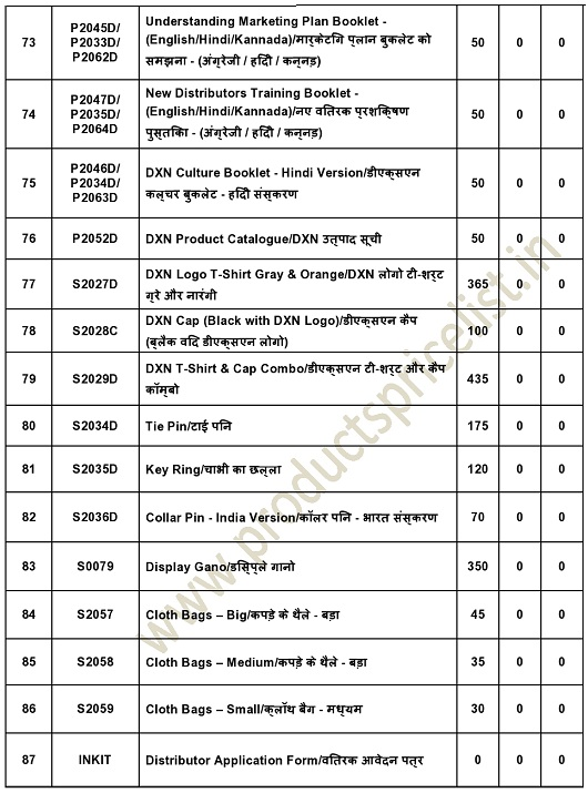 new DXN Network rate List PDF