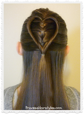 Elastic braid twist heart hair tutorial.  Cute and easy Valentine's Day Hairstyle.