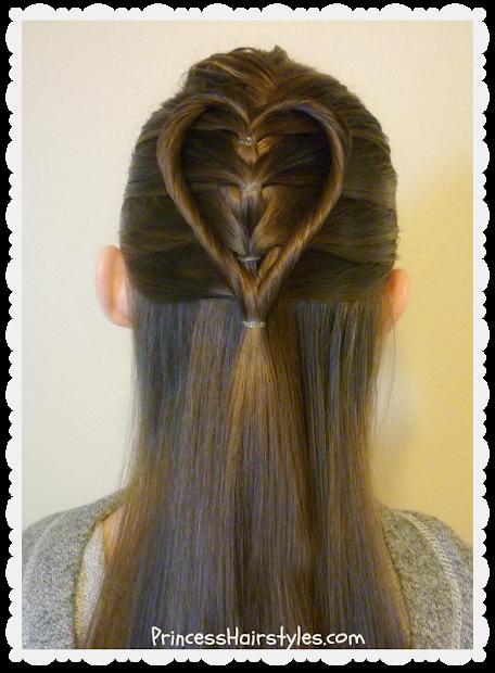 elastic braid twist heart hairstyle