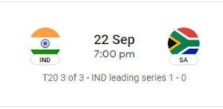 Ind Vs SA T20I 3rd Match in 3 Match series