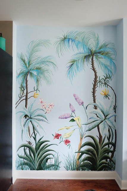 fantasy wall mural tropical traditional hand painted floral