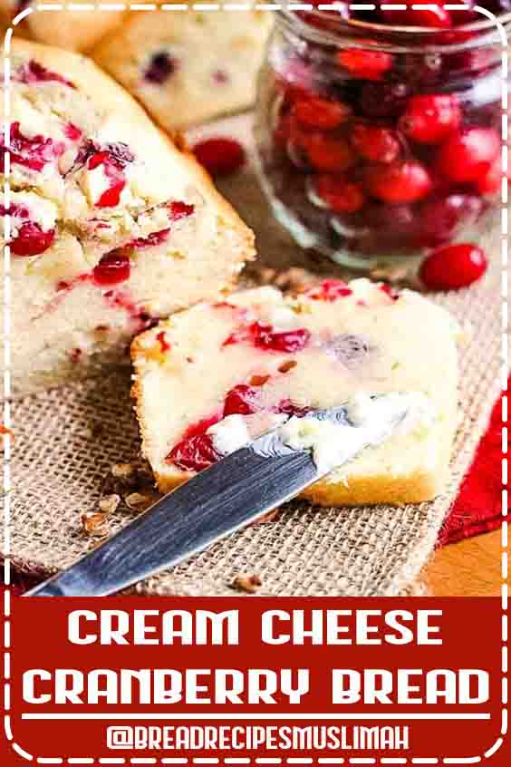 This sweet cream cheese bread compliments the tart cranberries it's loading with resulting in an amazing Cream Cheese Cranberry Bread! If you are looking for a new quick bread recipe that is perfect for the fall and Thanksgiving you have found it. It's so amazingly soft and tender, plus quick and easy to make. #cranberry #bread #Fruit #Bread #Recipes #videos