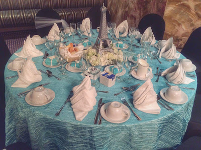 Parisian Breakfast at Tiffany's Bridal Shower Decoration - table setting