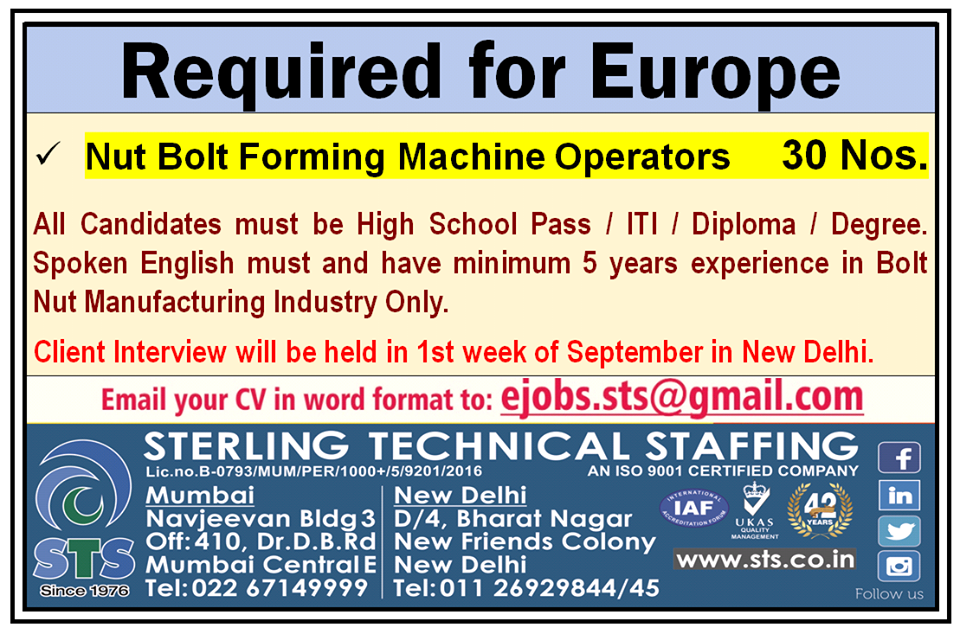 Nut Bolt Forming Machine Operators for Europe