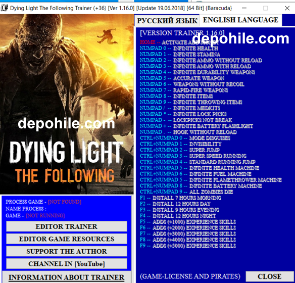 Dying Light The Following (PC) Can, İtem, Mermi +36 Trainer Hilesi
