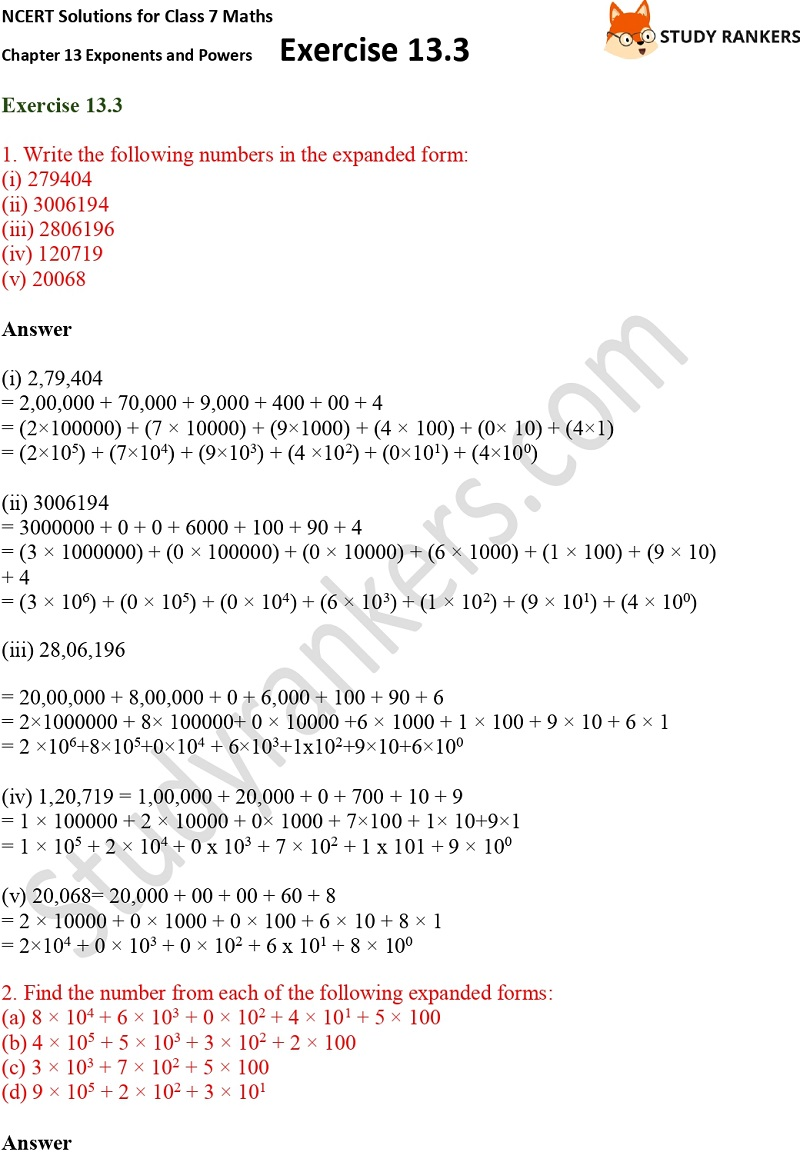 NCERT Solutions for Class 7 Maths Ch 13 Exponents and Powers Exercise 13.3 Part 1