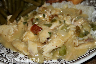 This one pot skillet meal starts with a butter roux based gravy, cooked with the trinity of veggies, chicken is tossed in and the dish spooned over steamed rice.