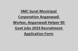 SMC Surat Municipal Corporation Anganwadi Worker, Anganwadi Helper 90 Govt jobs 2019 Recruitment Application Form