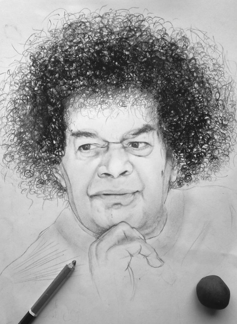 Sai baba pencil sketch drawing basudev patra