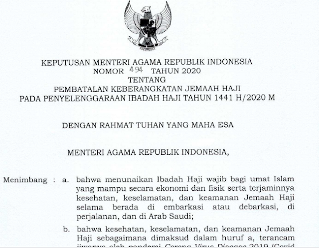 Keputusan Menteri Agama (KMA) Nomor 494 Tahun 2020 tentang Pembatalan Keberangkatan Jamaah Haji pada Penyelenggaraan Ibadah Haji Tahun 1441 H/2020 M.