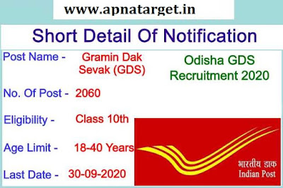 Odisha Gramin Dak Sevak Recruitment 2020-21
