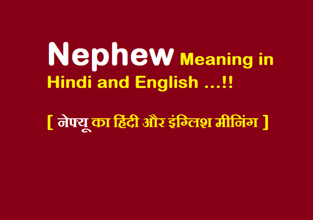 Nephew Meaning in Hindi and English